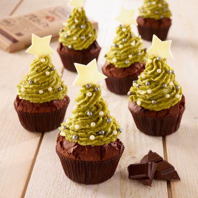 Cupcakes sapin aux deux chocolats