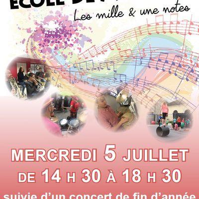Ecole de musique - Porte ouverte & Concert de fin d'année le 5 juillet 2017