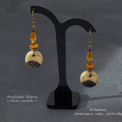 Boucles oreilles - Miels ambrés - raku, verre dépoli