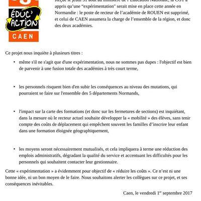 Communiqué académique sur la fusion Caen - Rouen