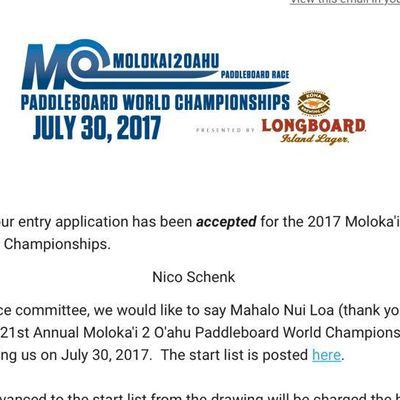 Nico Schenk accepted for the 2017 Molokai 2 Oahu