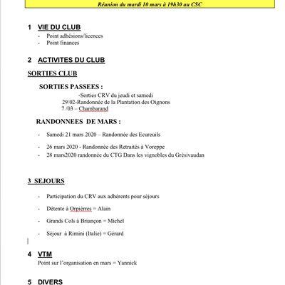 Réunion club mardi 10 mars au CSC