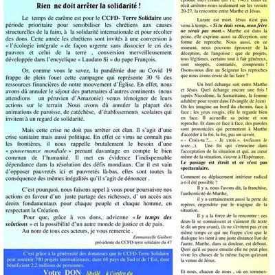 Dimanche 29 mars: Journée Nationale du CCFD-Terre Solidaire