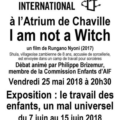 "Chaville, 25 Mai, ciné-débat ""I am not a Witch"" + Expo du 7 au 15 juin"