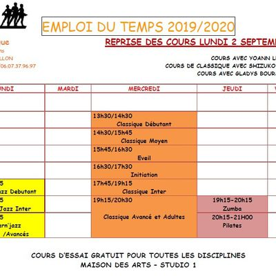 PLANNING COURS 2019-2020