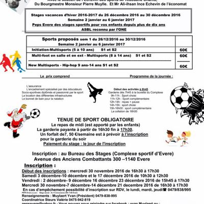 Peps Evere informations stages vacances d'Hiver 2016-2017