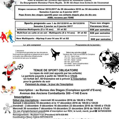 Peps Evere  informations stages vacance  noêl  hiver 2016-2017