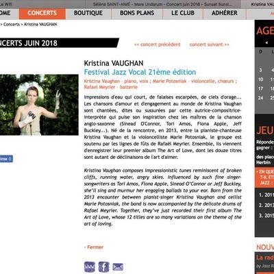 Kristina Vaughan en concert exceptionnel au Sunset-Sunside le 29/6