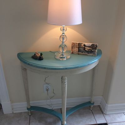 Before and After small table duck egg blue and cream color