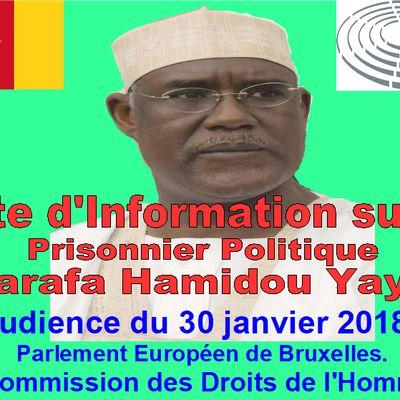 Note d'information  sur le Prisonnier Politique Marafa Hamidou Yaya présentée au Parlement Européen.