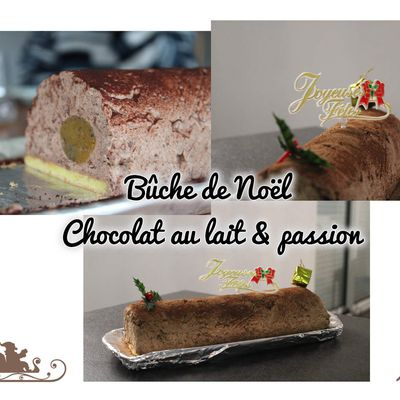 Bûche au chocolat au lait et aux fruits de la passion facile