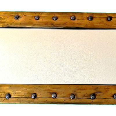 Magnifique Miroir rectangulaire style rétro à gros rivets