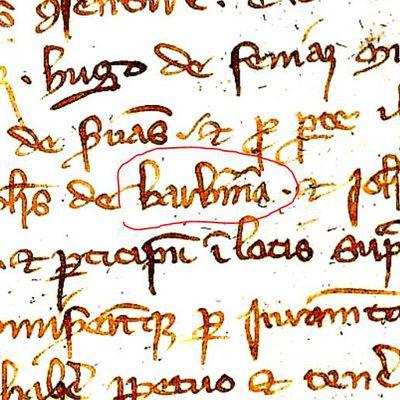 MENTION DE BARBERINE EN 1307