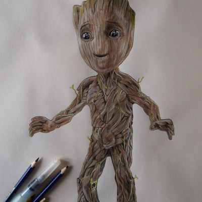 "Baby Groot - ""Guardians of the Galaxy, vol.2"" Aquarelle et crayons sur canson a3"