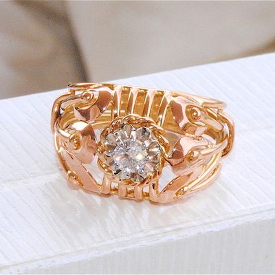 TRES BELLE BAGUE ANCIENNE - OR 2 TONS 18 K ( 750 ) - DIAMANT    REF / AA 901