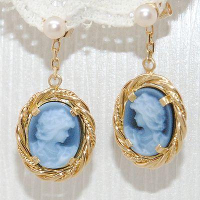 Romantiques et rares Boucles d'oreilles pendantes Or 18K - Camées agates bleues sur Onyx    REF / AA 1013