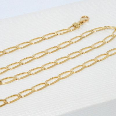 TRES BELLE CHAINE / COLLIER UNISEXE OR JAUNE 18 K ( 750 ) - MAILLE CHEVAL * Or 18 carats   REF / AA 1028