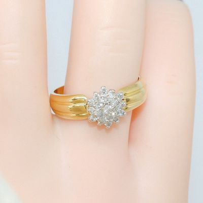 TRES BELLE BAGUE OR 2 TONS 18K ( 750/1000 ) - DIAMANTS * Or 18 carats   REF / AA 942