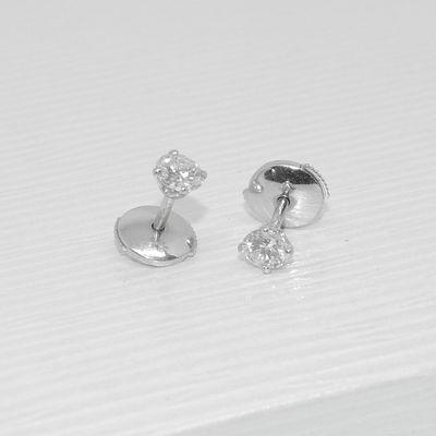 Boucles d'oreilles puces * clous * Or Blanc 18 K * Diamants 0,24 ct * Or 750/1000    REF / AA 1044