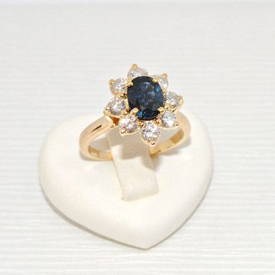 Bague Marguerite / Saphir / Diamants / Or Jaune 18K / 18 carats / Joaillerie 750/1000