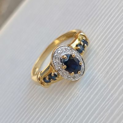 Bague Diamants / Saphirs / Or bicolore 18k / Femme joaillerie 750 /1000 / Or 18 carats  REF / AA 1066