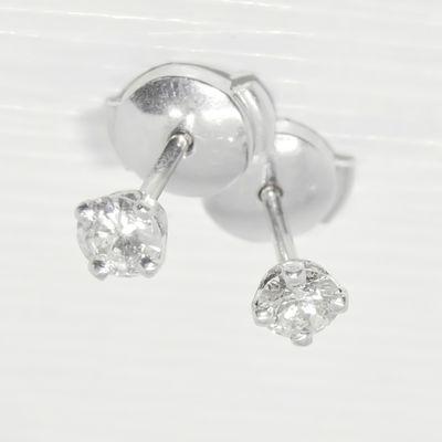 Boucles d'oreilles puces / clous / Diamants 0,28 ct / Or Blanc 18 K / Joaillerie 750/1000 REF / AA 1073