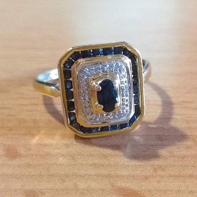 Bague octogonale Saphirs / Diamants / Joaillerie OR 2 tons 18 K ( 750 ) / 18 carats    REF / AB 969