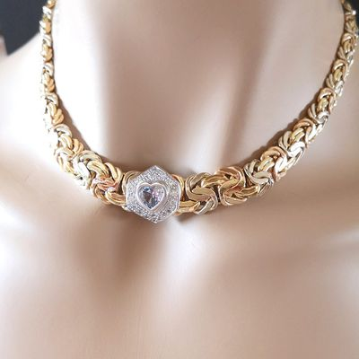 Collier maille royale / Or 2 tons 18k / Joaillerie femme 750/1000 / Or 18 carats   REF / AB 971