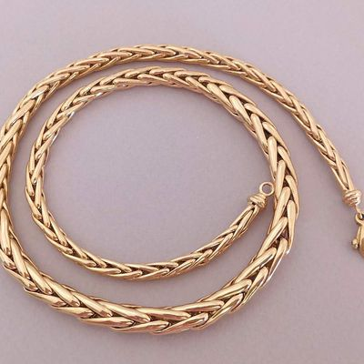 NEUF / Collier maille palmier / Or jaune 18 K / Joaillerie 750 / Or 18 carats    REF / AA 1099