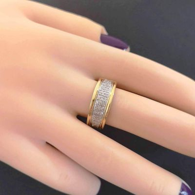 Bague Diamants / Joaillerie Or 2 tons 18 k / Or 18 carats / 750     REF / AB 975