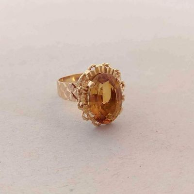Bague Ancienne Citrine / Or Jaune 18K ( 750 ) / Joaillerie 18 carats   REF / AA 1112