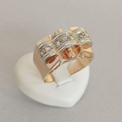 Bague Tank ancienne / Diamants taille Rose / OR 2 tons 18k / Joaillerie Or 18 carats / 750/1000    REF / AA 1133