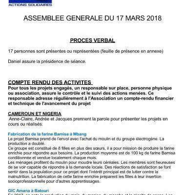 PV de l'Assemblée Générale du 17 mars 2018