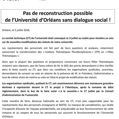 Communiqué intersyndical (6/7/18) : Pas de reconstruction possible  de l'Université d'Orléans sans dialogue social !