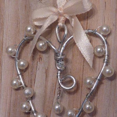 Créa: mon petit coeur en perles et fil d'aluminium.