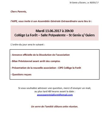 INVITATION ASSEMBLE GENERALE EXTRAORDINAIRE AIPE COLLEGE LA FORET
