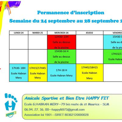 Permanences d'inscriptions septembre 2018