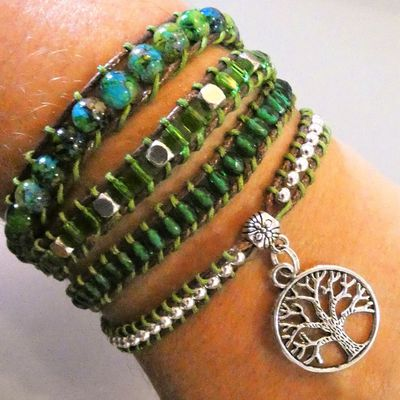bracelet wrap type boho couleur nature