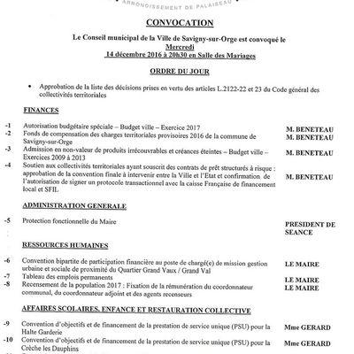14 décembre 2016, conseil municipal de Savigny sur Orge