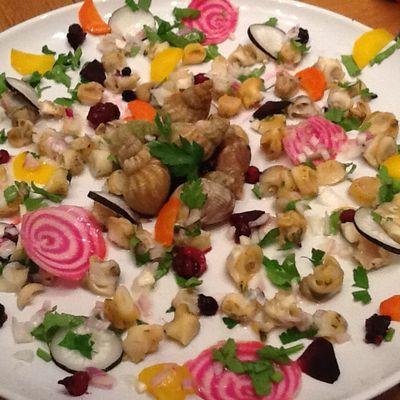 Salade colorée terre et mer : bulots, betterave, carottes, et radis noir