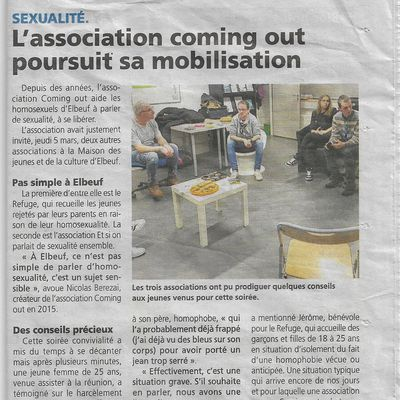 L'association Coming out poursuit sa mobilisation à la MJC d'Elbeuf.