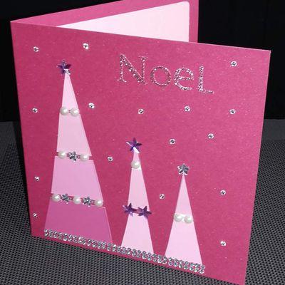 Carte de noël  très  très  rose !!!!