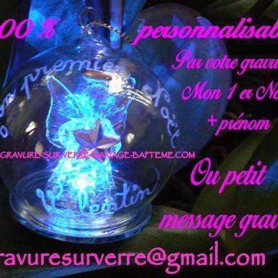 Boule Mon premier noel prénom personnalisé gravé à 9.90€ la boule noel verre ange lumineuse personnalisée au prénom de bébé