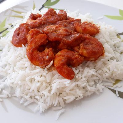 Crevettes ail, curry, tomate
