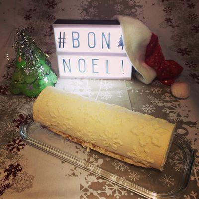 Bûche de Noël Citron et croustillant pralinoise