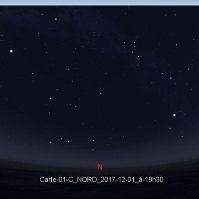 Cartes célestes pour le mois de décembre 2017 - La Lune dans les Hyades, et ciel d'hiver