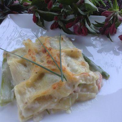 Lasagnes au saumon et asperges