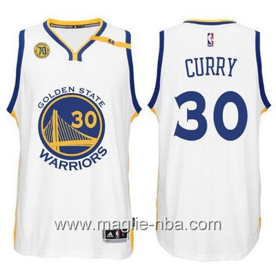 Maglia nba 2017 Golden State Warriors 70 ° Anniversario 42 Patch Stephen Curry