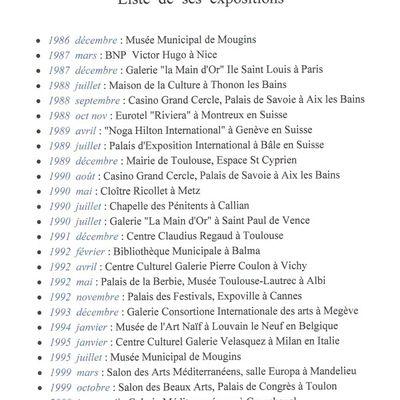 Liste des expositions de Dalma Bruno Grdovic
