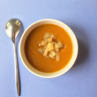 Pumpkin soup with caramelized pears(gluten free)